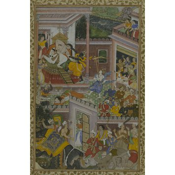 Illustration to the Harivamsa, Mughal, c. 1590, opaque water colour and gold on paper - Krishna kills Raja Kansa