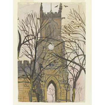 Watercolour - Sandbach Church; Recording Britain
