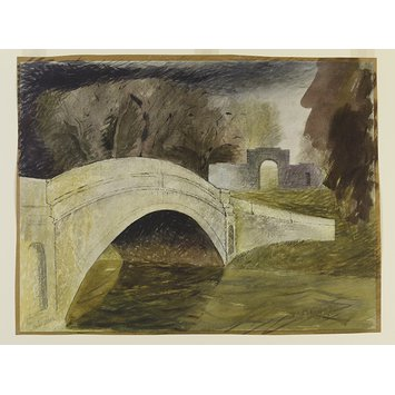Watercolour - The Bridge at Tyringham, Buckinghamshire; Recording Britain