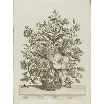 Print - A Select Collection of the most beautiful Flowers, Drawn after Nature by A. Heckell; disposed in their proper Order in Baskets: Intended either for Ornament or the Improvement of Ladies in Drawing and Needlework