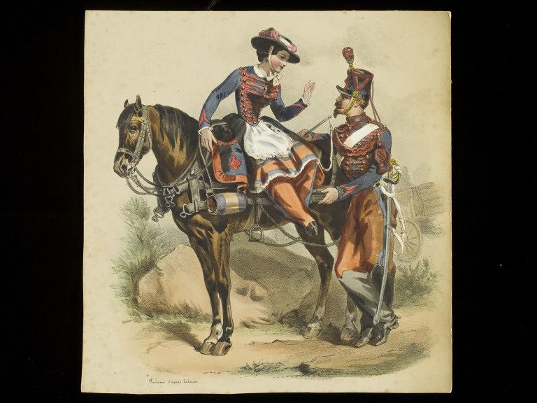 Lithograph of a woman on horseback
