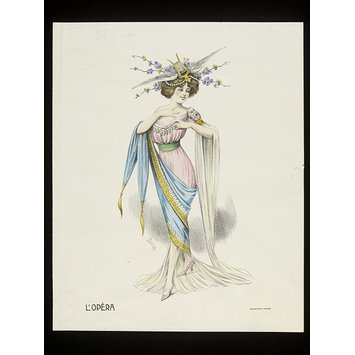 Colour lithograph - L'Opéra