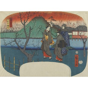 Woodblock print - The Plum Garden at Omurai; Flower Siblings at Famous Places