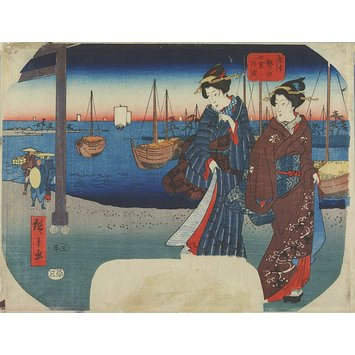 Woodblock print - The Shichiri Ferry Crossing at Atsuta in Owari Province