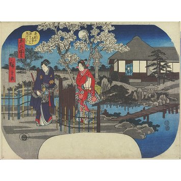 Woodblock print - The Meeting at Yahagi: The Beginnings of the Jorurijunidan Story; Scenes from the Life of Ushiwakamaru