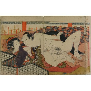 Woodblock print - Man Kissing Woman's Nipple