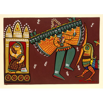 Painting - Jatayu, Sita and Ravana