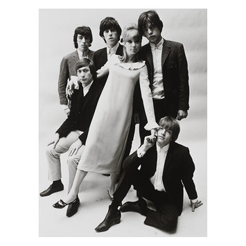 photograph - Patti Boyd wearing a Mary Quant dress, photographed with the Rolling Stones