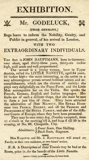 Flyer advertising 'Two Extraordinary Individuals', printed by Schulze and Dean, England, 1811-1820, Museum no. S.1290-1982