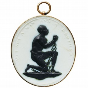 White jasper medallion for the Society for the Abolition of the Slave Trade, made at Josiah Wedgwood's factory, Etruria, Staffordshire, England, UK, about 1787. Museum no. 414:1304-1885