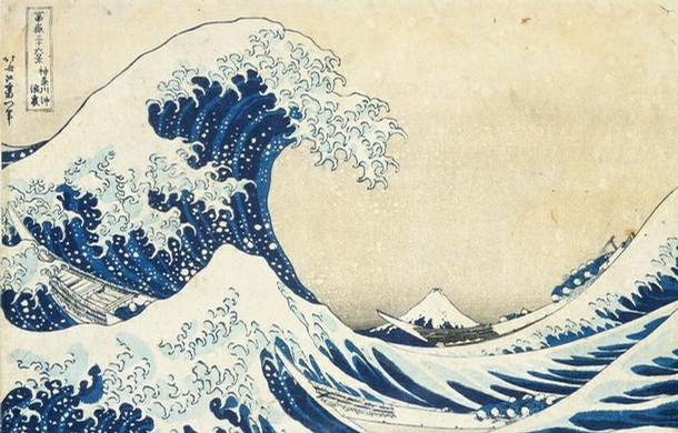 'The Great Wave', woodblock print by Katsushika Hokusai, Japan, 19th century. Museum no. E.4823-1916