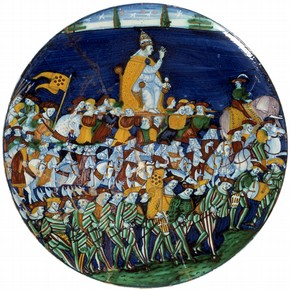 Enamelled earthenware dish depicting Pope Leo X carried in procession, Montelupo, Italy, 1513-21. Museum no. 8928-1863