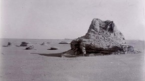 Ruined structure, Miran Fort, Sir Marc Aurel Stein, 1914. Photo 392/28(357), © The British Library Board