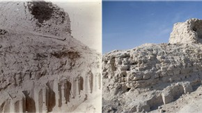 View looking along base of stupa, Miran, Sir Marc Aurel Stein, 1906. Photo 392/27(118), © The British Library Board (left). Same view, Victoria Swift, 2008. Photo 1187/2(131), © International Dunhuang Project (right)