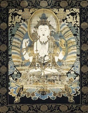Woven Buddhist picture, about 1740-1800, Museum no. T.97-1966