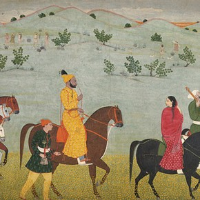 Nainsukh, 'Mian Mukund Dev of Jasrota riding through a meadow', about 1754. Museum no. IS 7-1973