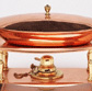 Chafing Dish and Stand, raised copper with cast brass fittings