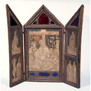 Triptych with The Lamentation, with St John the Evangelist and St Mary Magdalene, and the emblems of the Passion; (Left shutter): St. James, St. Sebastian and Saint Blaise; (Right shutter): St. John the Baptist, St. Peter and St. Paul (Drawing)