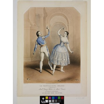 Print - La Castilliana Bolero / Danced by / Madelle Fanny Elssler, & Monsr Perrot. / in the ballet divertissement / Le Delire d'un peintre