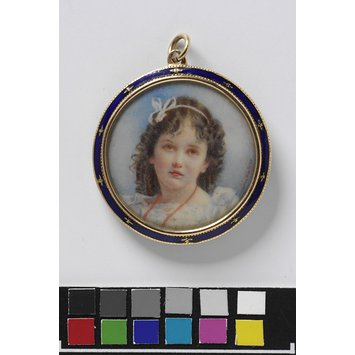 Miniature - Double-sided locket containing two portrait minitures of unknown girls
