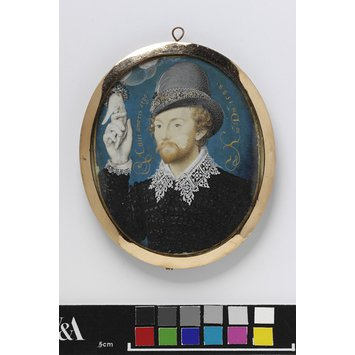 Portrait miniature - Man Clasping a Hand from a Cloud