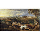 Bulls Fighting, with a View of Donatt's Castle, Glamorganshire (Oil painting)
