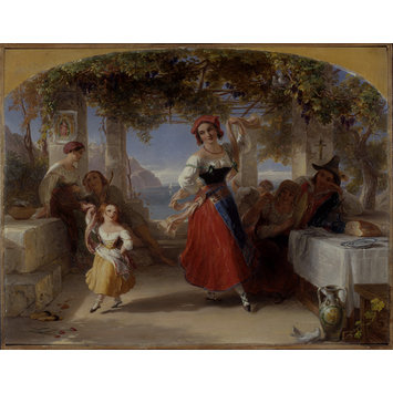 Oil painting - An Italian Mother Teaching her Child the Tarantella