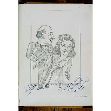 Caricature - Felix Aylmer and Margaret Lockwood in <i>Spider's Web</i>