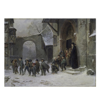Oil painting - Snow scene: children leaving school
