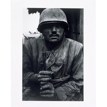 Photograph - Shell-shocked soldier awaiting transportation away from the frontline,  Hue
