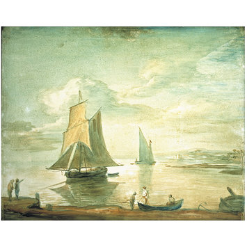 Oil painting - Coastal Scene with Sailing and Rowing Boats and Figures on Shore