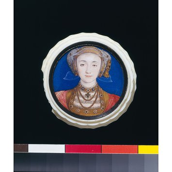 Portrait miniature - Portrait miniature of Anne of Cleves (1515-1557), set in a turned ivory box
