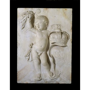 Putto  - A putto holding the Crown and Coat of Arms of Scotland