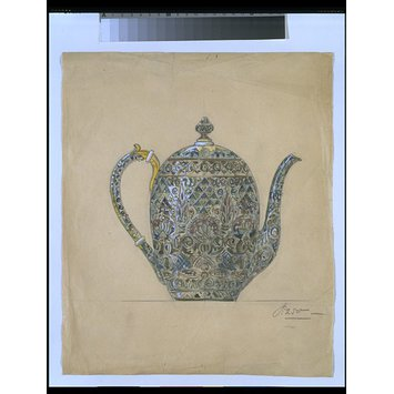 Drawing - Design for cloisonne enamelled tea or coffee pot