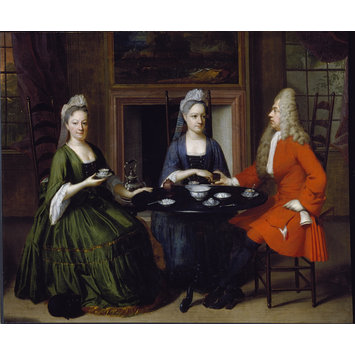 Oil painting - Two ladies and an officer seated at tea