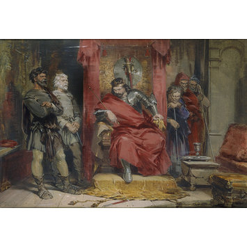 Watercolour - Macbeth instructing the murderers employed to kill Banquo