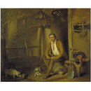 A Cottage Exterior: A Seated Labourer Filling His Pipe (Oil painting)