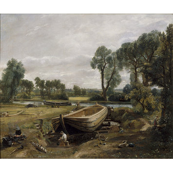 Oil painting - Boat-Building near Flatford Mill