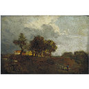 Landscape with elm trees and a farm, near Bayswater (Oil painting)