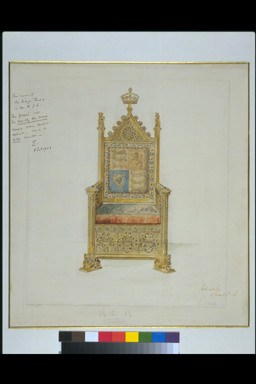 Record Drawing Of The Royal Throne In The House Of Lords