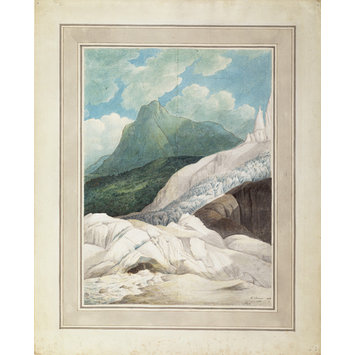 Watercolour - The Source of the Arveiron, with Mont Blanc in the Background