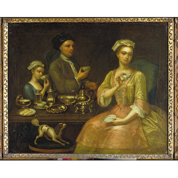 Oil painting - A Family of Three at Tea