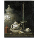 Teapot, Ginger Jar and Slave Candlestick (Oil painting)