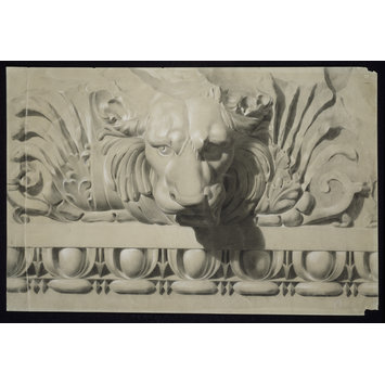 Chalk drawing - Study of ornament from the cast