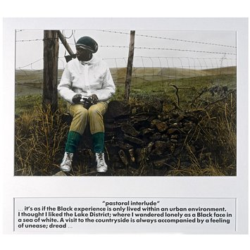 "Photograph - '""Pastoral interlude""…it's as if the black experience is only ever lived within an urban environment. I thought I liked the Lake District; where I wandered lonely as a black face in a sea of white. A visit to the countryside is always accompanied by a feeling of unease; dread…'"