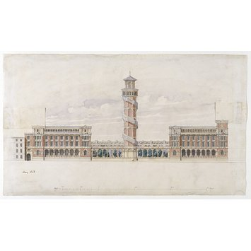 Design - West elevation of the Science Schools (now the Henry Cole Wing of the Victoria and Albert Museum) and proposed extension in the same style