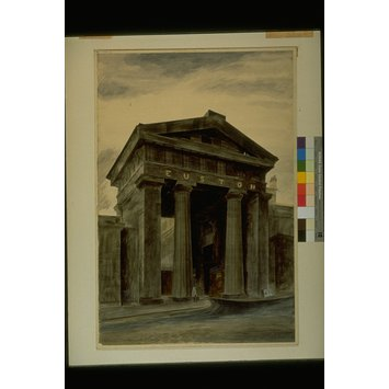 Watercolour - Doric arch, Euston Station, London, NW1