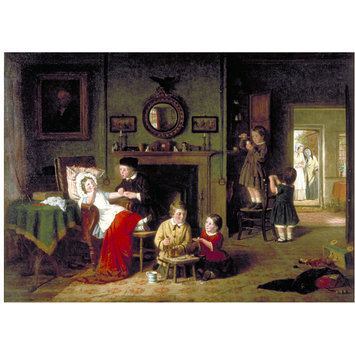 Oil painting - Children Playing at Doctors
