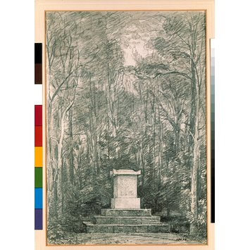 Drawing - Cenotaph to Sir Joshua Reynolds amonst lime trees in the grounds of Coleorton Hall