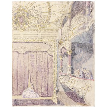Watercolour - Interior, showing a box and the stage, of the Old Grand Theatre, now the Gaumont Hippodrome, Colchester
